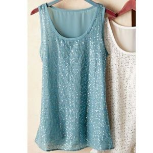 Soft surroundings sequin shimmer layered tank top